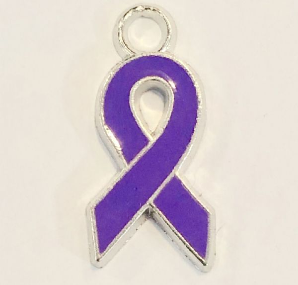 Purple  ribbon charms - 18mm x 9mm